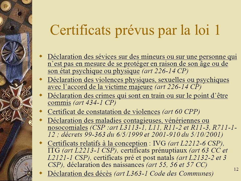 13 Certificats prévus par la loi 2 Hospitalisation sous contrainte : HDT (art L3212-1 à L3212-12 CSP) et HO (art L3213-1 à L3213-10 CSP) ; protection des incapables majeurs (art L3211-6 CSP et L490 CC) Signalement des alcooliques dangereux (art L355-2 CSP) Certificat pour usage illicite de stupéfiants (art L3412-1 CSP) Certificat de levée de corps (art 74 CPP et 81 CC) et de garde à vue (art 63-3 CPP) Certificat de vérification de létat alcoolique (fiche B à remplir suite à une réquisition pour alcoolémie ; loi 83-1045 du 8/12/1983) Certificats dobtention ou daggravation dune pension militaire (loi du 3/4/1955) Certificats dépendants de la législation sociale : accident du travail (art L441-6 CSS), maladie professionnelle (art L461-5 CSS) ou à caractère professionnel (art L461-6 CSS), arrêt maladie, arrêt de travail…