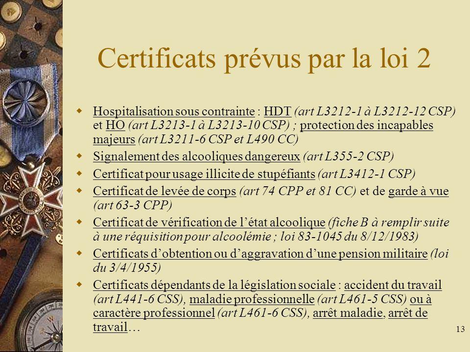 13 Certificats prévus par la loi 2 Hospitalisation sous contrainte : HDT (art L3212-1 à L3212-12 CSP) et HO (art L3213-1 à L3213-10 CSP) ; protection