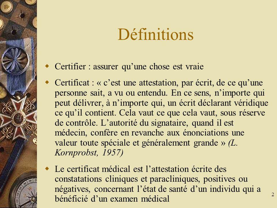 3 Introduction Certains certificats « obligatoires » constituent une dérogation relative au secret médical et doivent être connus La plupart des certificats médicaux sont « facultatifs » et le médecin doit les établir à bon escient, pour éviter la multiplicité des certificats inutiles et souvent mal rédigés Il existe des certificats « coutumiers » dont lutilité peut être discuté La rédaction dun certificat ne peut se concevoir quaprès un examen du malade et dans des termes mesurés et objectifs La responsabilité disciplinaire, pénale et civile du médecin est engagée chaque fois quil accepte de rédiger un certificat médical