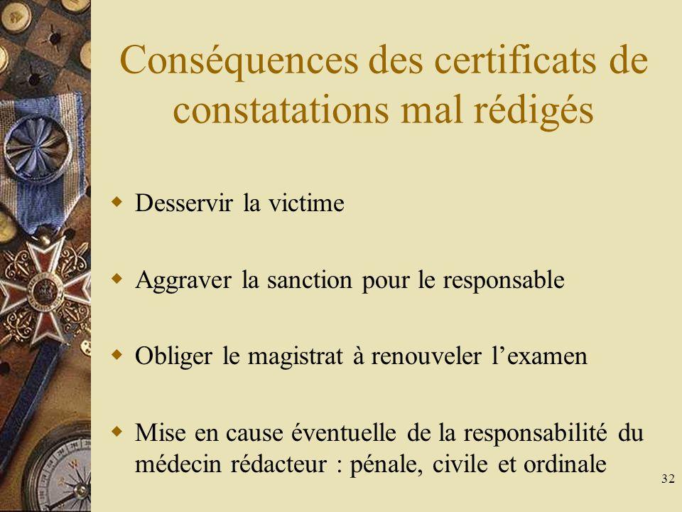 32 Conséquences des certificats de constatations mal rédigés Desservir la victime Aggraver la sanction pour le responsable Obliger le magistrat à renouveler lexamen Mise en cause éventuelle de la responsabilité du médecin rédacteur : pénale, civile et ordinale