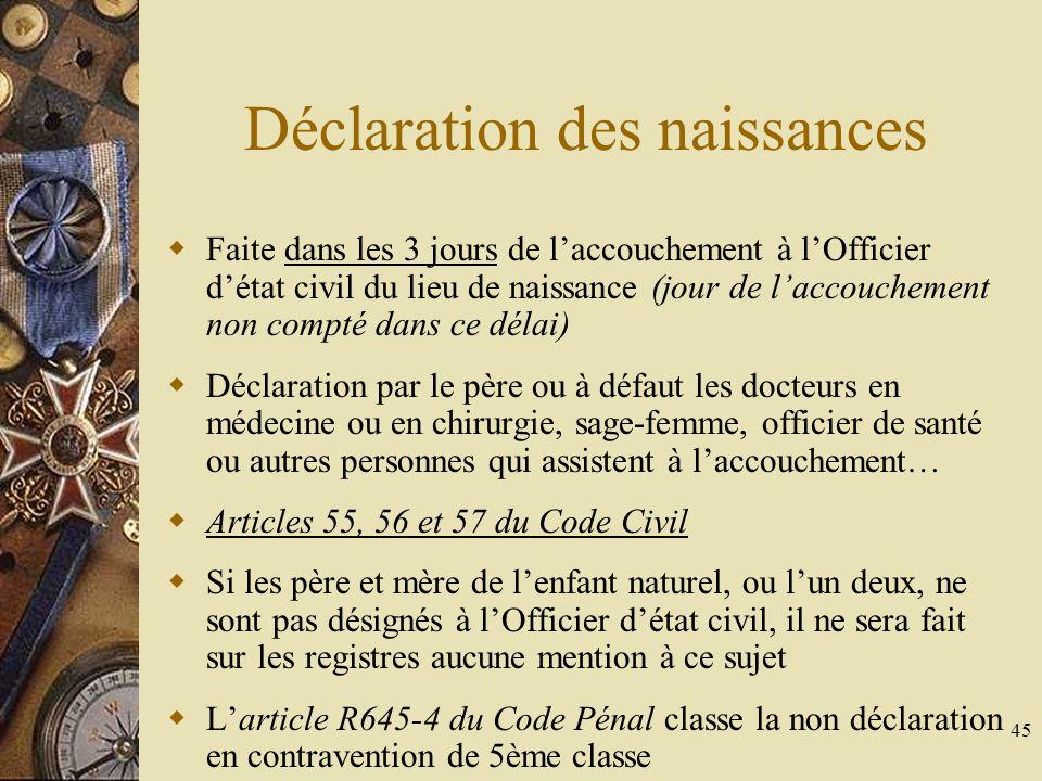 45 Déclaration des naissances Faite dans les 3 jours de laccouchement à lOfficier détat civil du lieu de naissance (jour de laccouchement non compté d