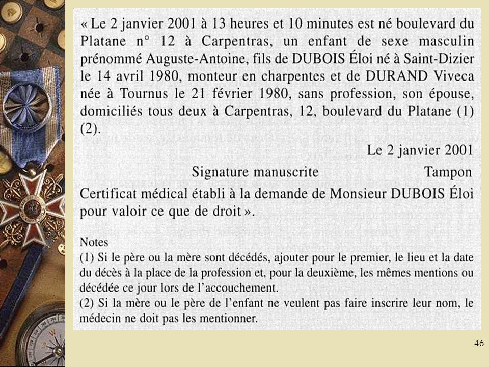 47 Certificats coutumiers… mais facultatifs Certificat pour voter par correspondance Certificats de non contagion, de non contre-indication à la vie en collectivité, de bonne santé apparente.