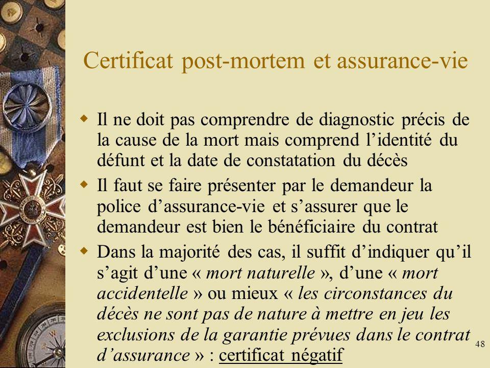 48 Certificat post-mortem et assurance-vie Il ne doit pas comprendre de diagnostic précis de la cause de la mort mais comprend lidentité du défunt et