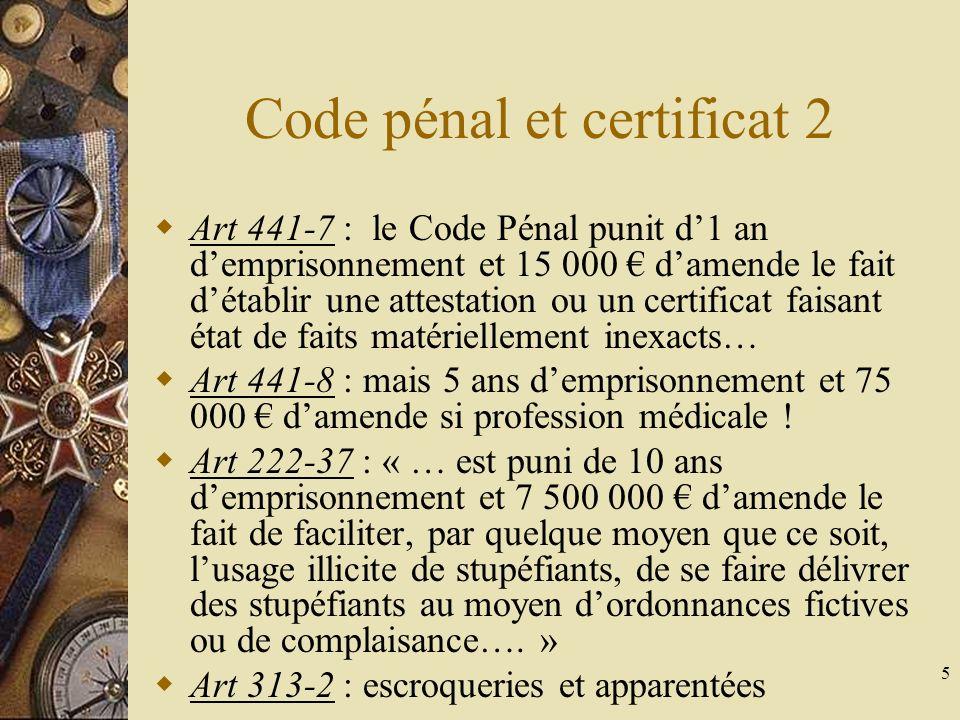 5 Code pénal et certificat 2 Art 441-7 : le Code Pénal punit d1 an demprisonnement et 15 000 damende le fait détablir une attestation ou un certificat