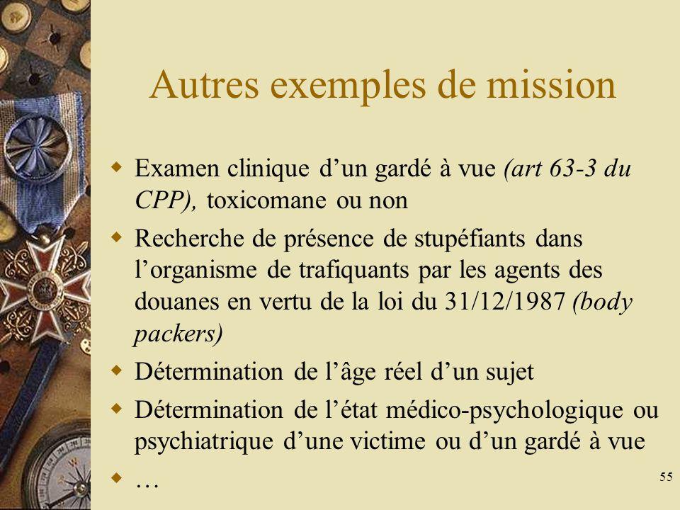 55 Autres exemples de mission Examen clinique dun gardé à vue (art 63-3 du CPP), toxicomane ou non Recherche de présence de stupéfiants dans lorganism