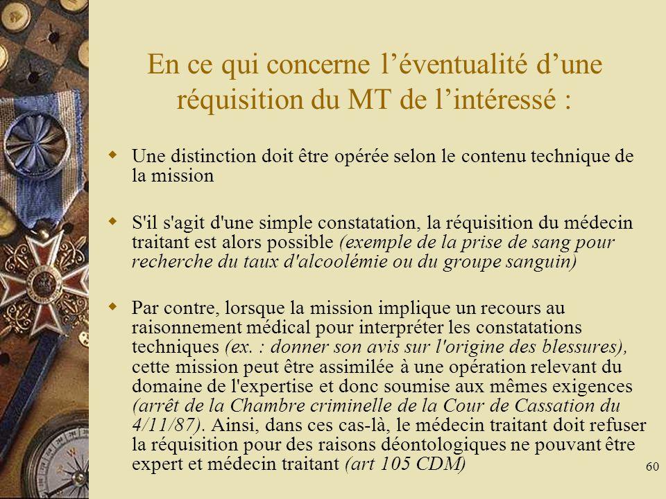 60 En ce qui concerne léventualité dune réquisition du MT de lintéressé : Une distinction doit être opérée selon le contenu technique de la mission S'