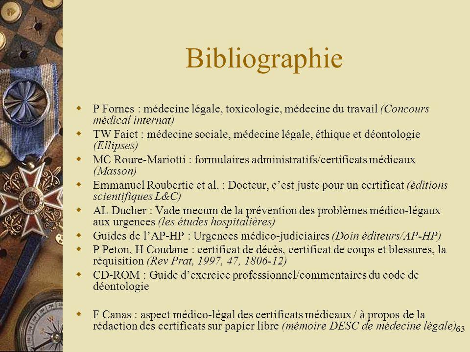 63 Bibliographie P Fornes : médecine légale, toxicologie, médecine du travail (Concours médical internat) TW Faict : médecine sociale, médecine légale
