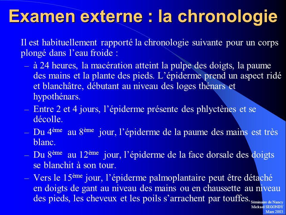 Séminaire de Nancy Mickael SEGONDY Mars 2003 Examen externe : la chronologie Il est habituellement rapporté la chronologie suivante pour un corps plon