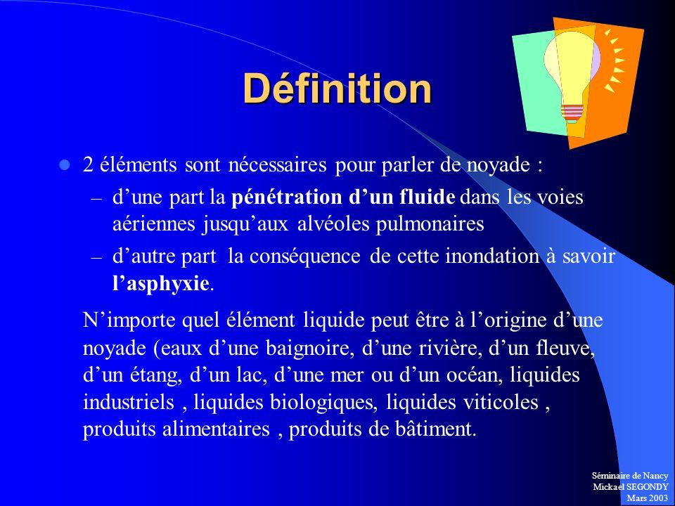 Séminaire de Nancy Mickael SEGONDY Mars 2003 Définition 2 éléments sont nécessaires pour parler de noyade : – dune part la pénétration dun fluide dans