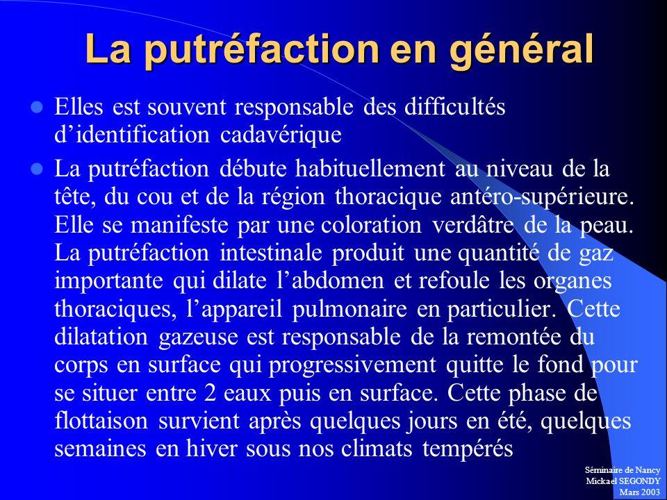Séminaire de Nancy Mickael SEGONDY Mars 2003 La putréfaction en général Elles est souvent responsable des difficultés didentification cadavérique La p