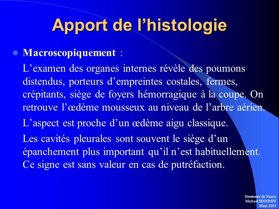Séminaire de Nancy Mickael SEGONDY Mars 2003 Apport de lhistologie Macroscopiquement : Lexamen des organes internes révèle des poumons distendus, port