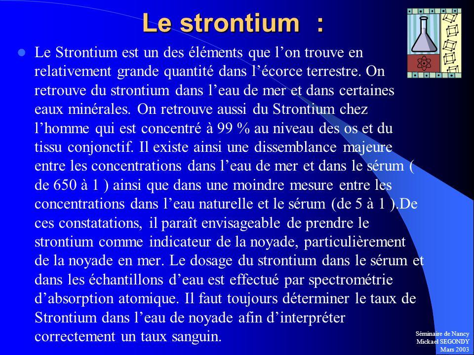 Séminaire de Nancy Mickael SEGONDY Mars 2003 Le Strontium est un des éléments que lon trouve en relativement grande quantité dans lécorce terrestre. O