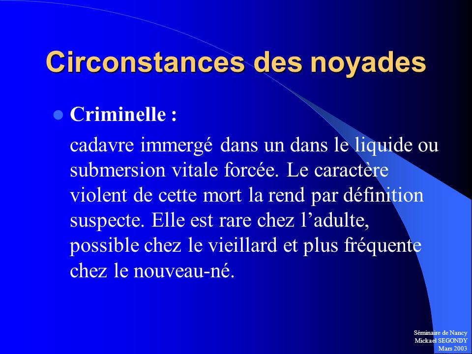 Séminaire de Nancy Mickael SEGONDY Mars 2003 Circonstances des noyades Criminelle : cadavre immergé dans un dans le liquide ou submersion vitale forcé