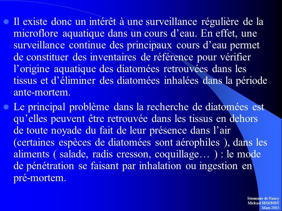 Séminaire de Nancy Mickael SEGONDY Mars 2003 Il existe donc un intérêt à une surveillance régulière de la microflore aquatique dans un cours deau. En