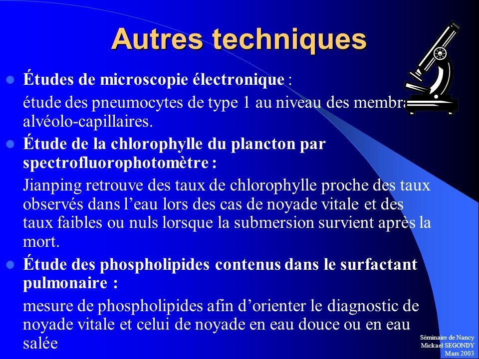 Séminaire de Nancy Mickael SEGONDY Mars 2003 Autres techniques Études de microscopie électronique : étude des pneumocytes de type 1 au niveau des memb