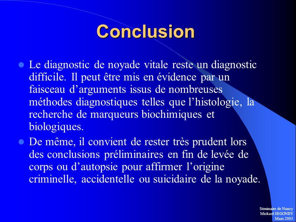 Séminaire de Nancy Mickael SEGONDY Mars 2003 Conclusion Le diagnostic de noyade vitale reste un diagnostic difficile. Il peut être mis en évidence par