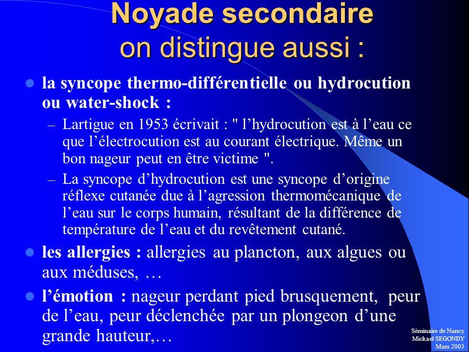 Séminaire de Nancy Mickael SEGONDY Mars 2003 la syncope thermo-différentielle ou hydrocution ou water-shock : – Lartigue en 1953 écrivait :