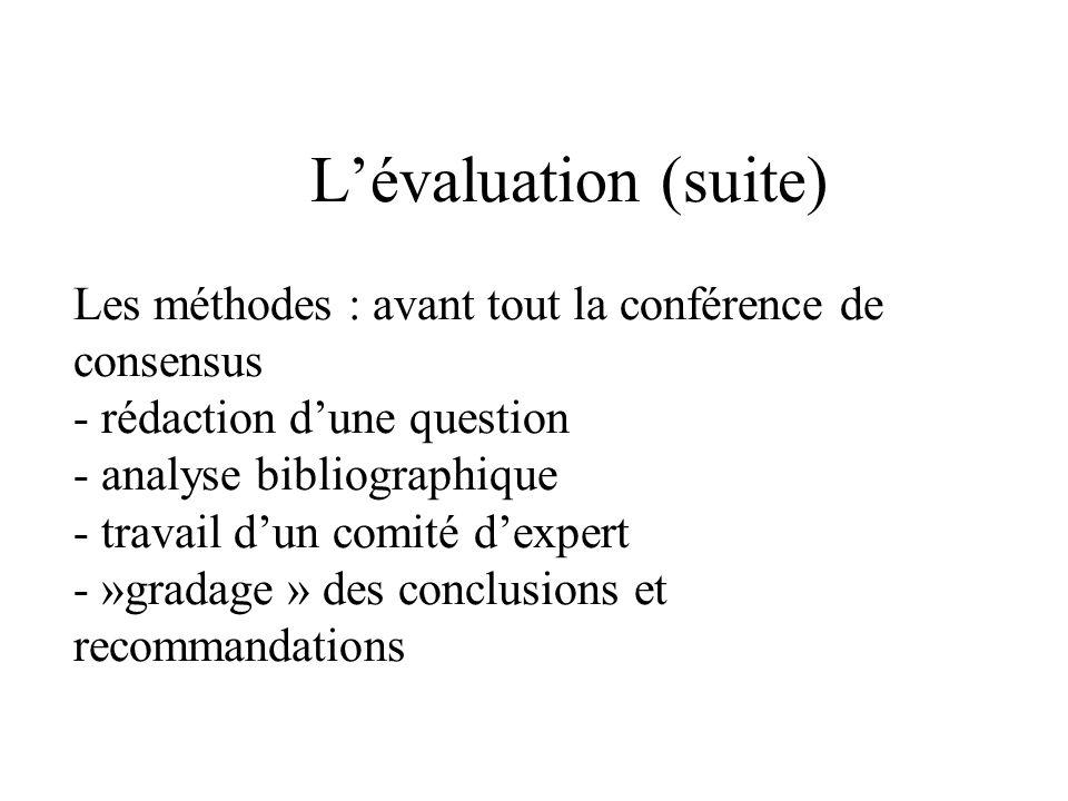 Lévaluation (suite) Les méthodes : avant tout la conférence de consensus - rédaction dune question - analyse bibliographique - travail dun comité dexpert - »gradage » des conclusions et recommandations