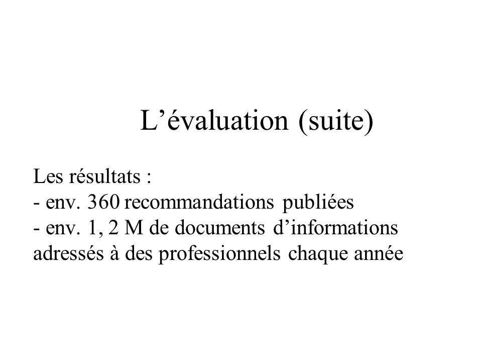 Lévaluation (suite) Les résultats : - env. 360 recommandations publiées - env.