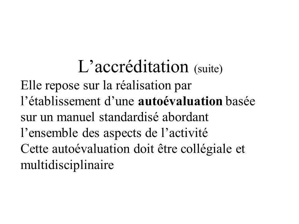 Laccréditation (suite) Elle repose sur la réalisation par létablissement dune autoévaluation basée sur un manuel standardisé abordant lensemble des aspects de lactivité Cette autoévaluation doit être collégiale et multidisciplinaire