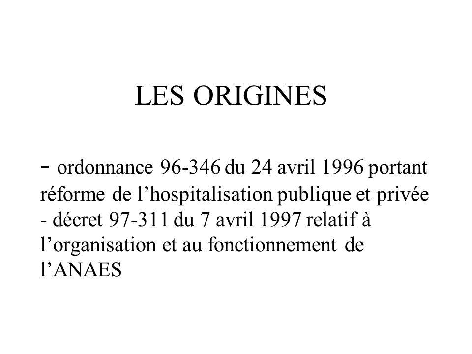 LES ORIGINES - ordonnance 96-346 du 24 avril 1996 portant réforme de lhospitalisation publique et privée - décret 97-311 du 7 avril 1997 relatif à lorganisation et au fonctionnement de lANAES