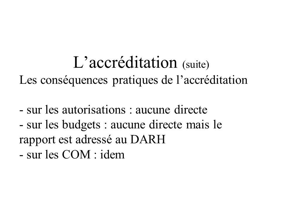 Laccréditation (suite) Les conséquences pratiques de laccréditation - sur les autorisations : aucune directe - sur les budgets : aucune directe mais le rapport est adressé au DARH - sur les COM : idem