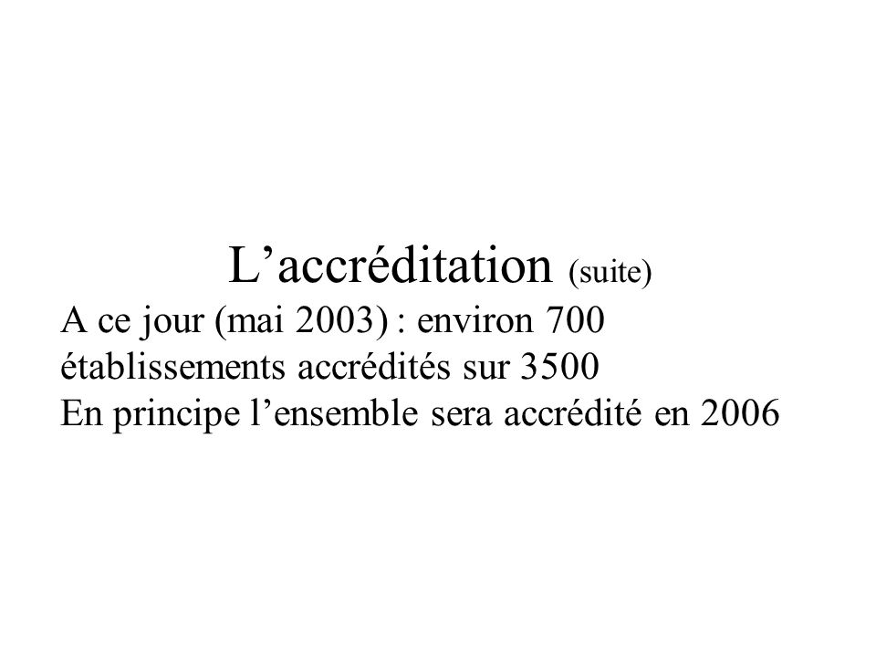 Laccréditation (suite) A ce jour (mai 2003) : environ 700 établissements accrédités sur 3500 En principe lensemble sera accrédité en 2006