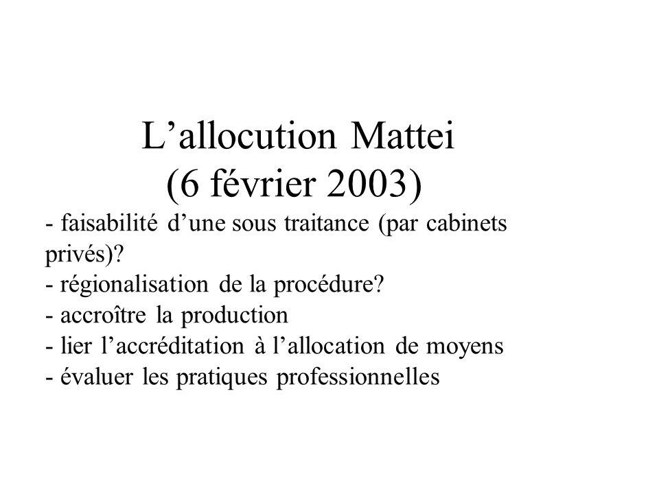 Lallocution Mattei (6 février 2003) - faisabilité dune sous traitance (par cabinets privés).