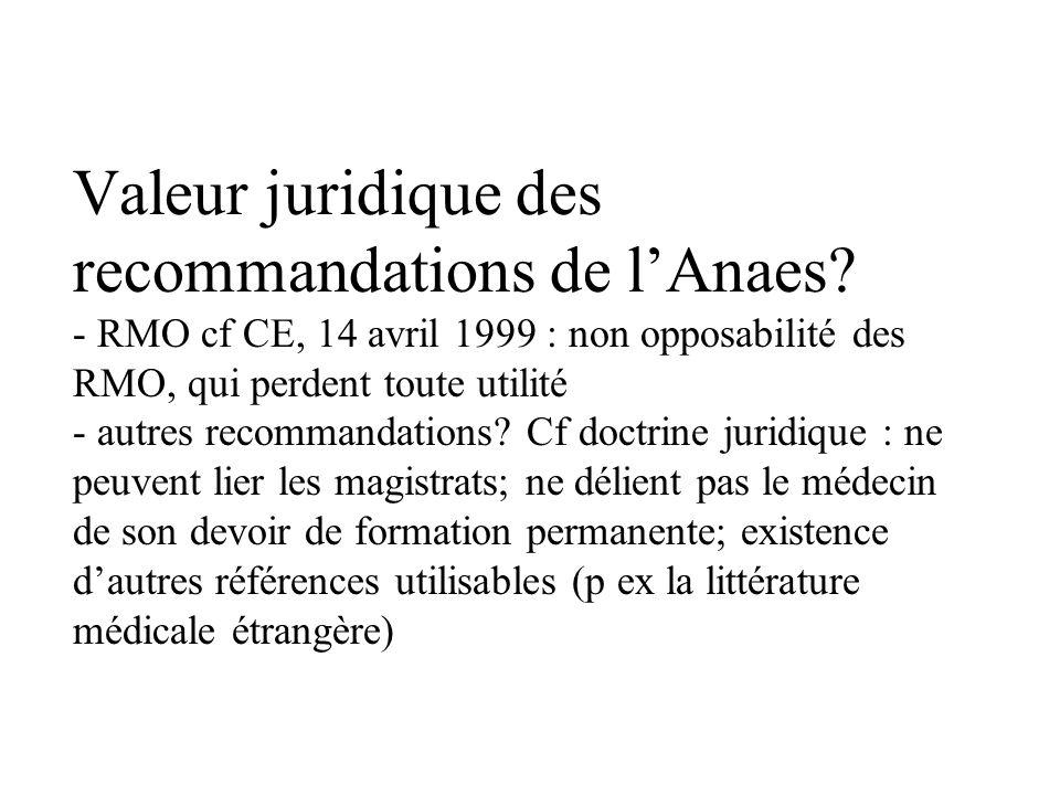 Valeur juridique des recommandations de lAnaes.