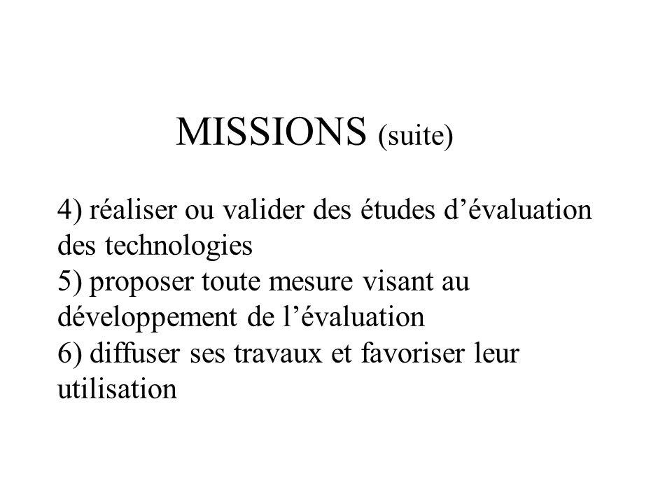 MISSIONS (suite) 4) réaliser ou valider des études dévaluation des technologies 5) proposer toute mesure visant au développement de lévaluation 6) diffuser ses travaux et favoriser leur utilisation