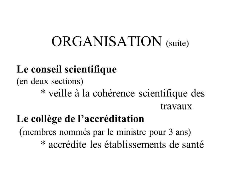 ORGANISATION (suite) Le conseil scientifique (en deux sections) * veille à la cohérence scientifique des travaux Le collège de laccréditation ( membres nommés par le ministre pour 3 ans) * accrédite les établissements de santé