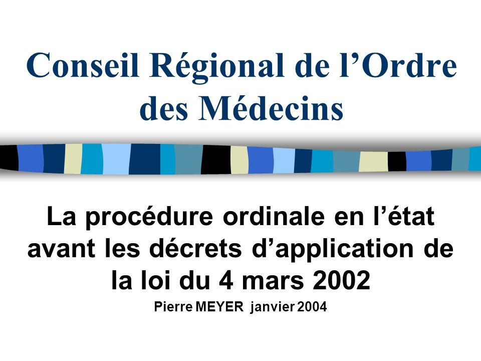Conseil Régional de lOrdre des Médecins La procédure ordinale en létat avant les décrets dapplication de la loi du 4 mars 2002 Pierre MEYER janvier 20