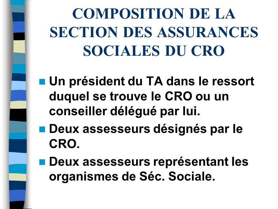 COMPOSITION DE LA SECTION DES ASSURANCES SOCIALES DU CRO Un président du TA dans le ressort duquel se trouve le CRO ou un conseiller délégué par lui.