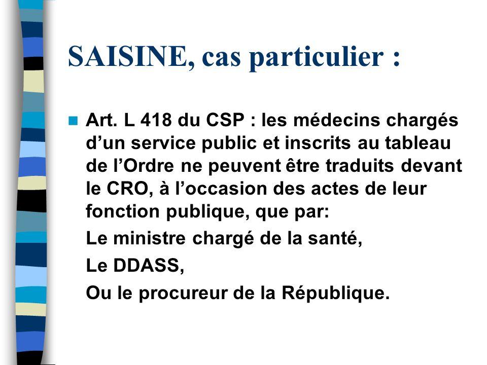 SAISINE, cas particulier : Art. L 418 du CSP : les médecins chargés dun service public et inscrits au tableau de lOrdre ne peuvent être traduits devan