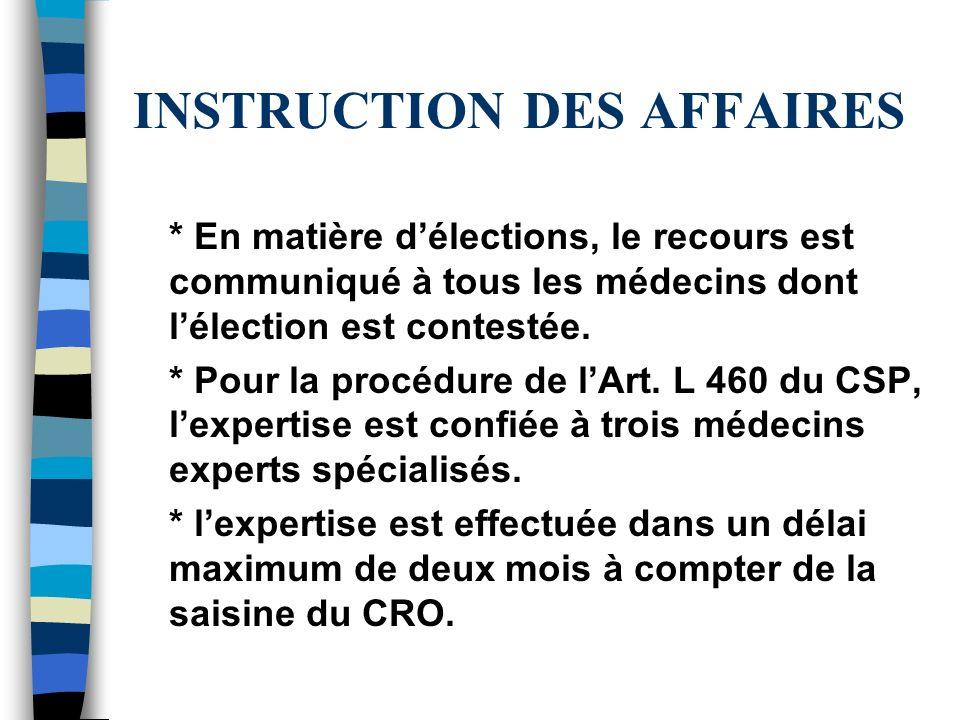 INSTRUCTION DES AFFAIRES * En matière délections, le recours est communiqué à tous les médecins dont lélection est contestée. * Pour la procédure de l