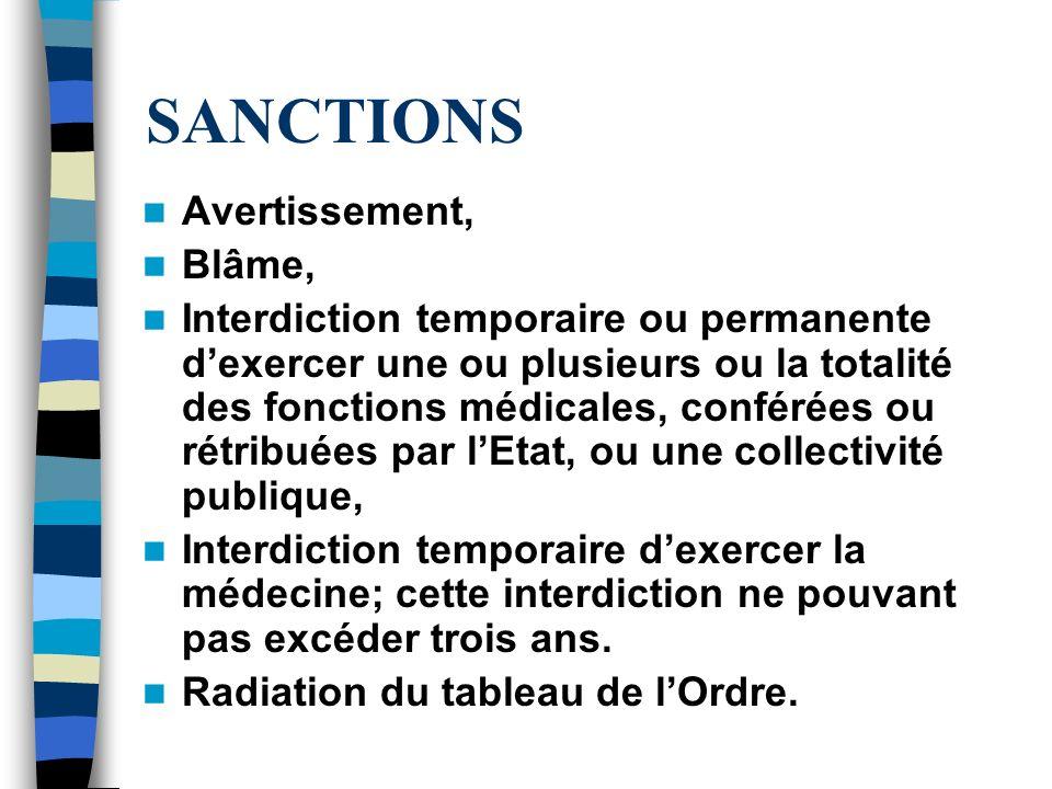 SANCTIONS Avertissement, Blâme, Interdiction temporaire ou permanente dexercer une ou plusieurs ou la totalité des fonctions médicales, conférées ou r
