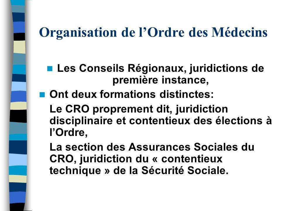 Organisation de lOrdre des Médecins Les Conseils Régionaux, juridictions de première instance, Ont deux formations distinctes: Le CRO proprement dit,