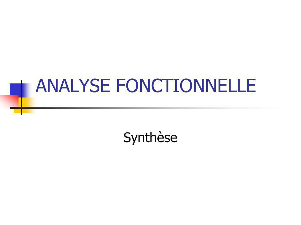 ANALYSE FONCTIONNELLE Synthèse