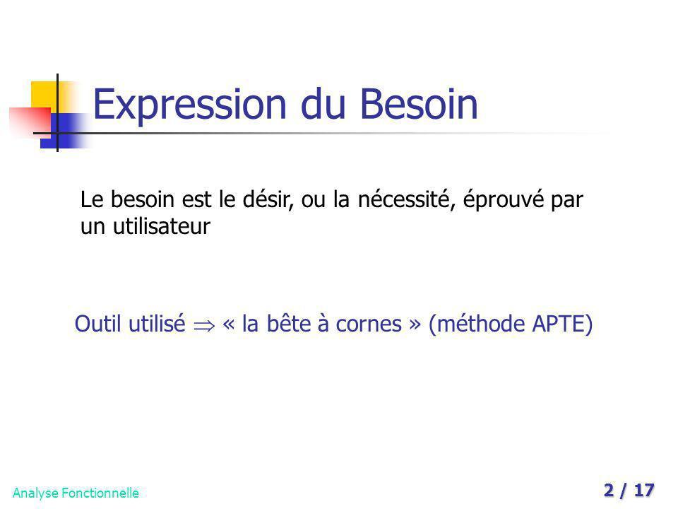 Analyse Fonctionnelle 2 / 17 Expression du Besoin Le besoin est le désir, ou la nécessité, éprouvé par un utilisateur Outil utilisé « la bête à cornes