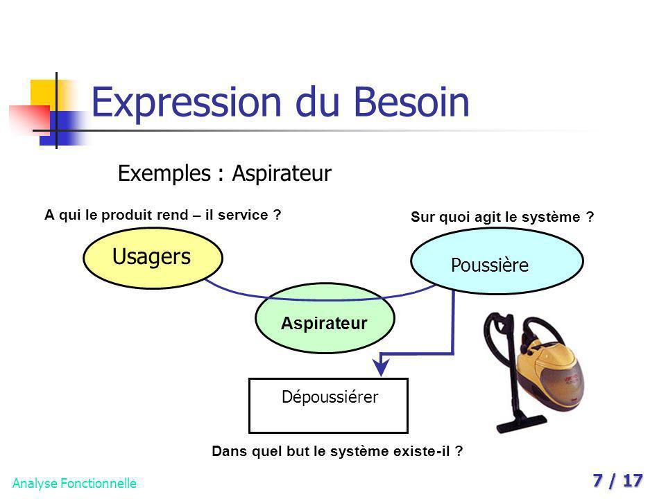Analyse Fonctionnelle 7 / 17 Expression du Besoin Exemples : Aspirateur A qui le produit rend – il service ? Sur quoi agit le système ? Aspirateur Dan