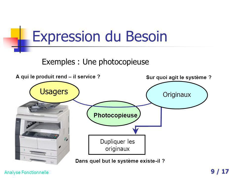 Analyse Fonctionnelle 9 / 17 Expression du Besoin Exemples : Une photocopieuse A qui le produit rend – il service ? Sur quoi agit le système ? Photoco