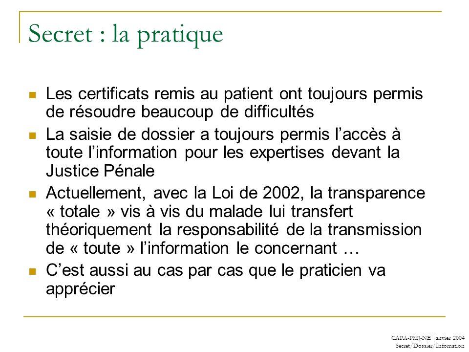 CAPA-PMJ-NE janvier 2004 Secret/Dossier/Infomation Secret : la pratique Les certificats remis au patient ont toujours permis de résoudre beaucoup de d