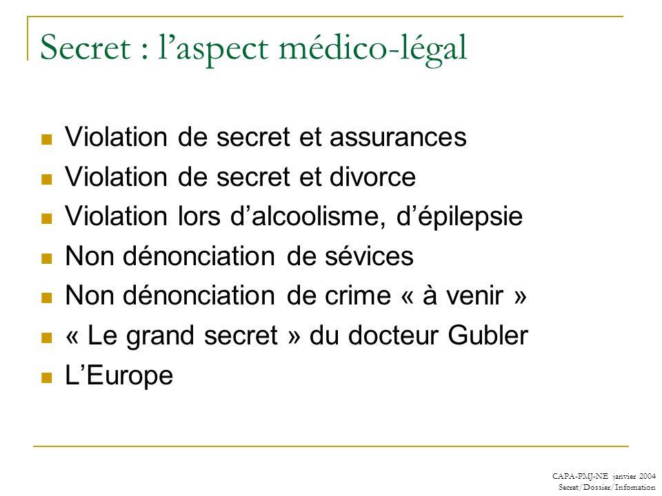 CAPA-PMJ-NE janvier 2004 Secret/Dossier/Infomation Secret : laspect médico-légal Violation de secret et assurances Violation de secret et divorce Viol