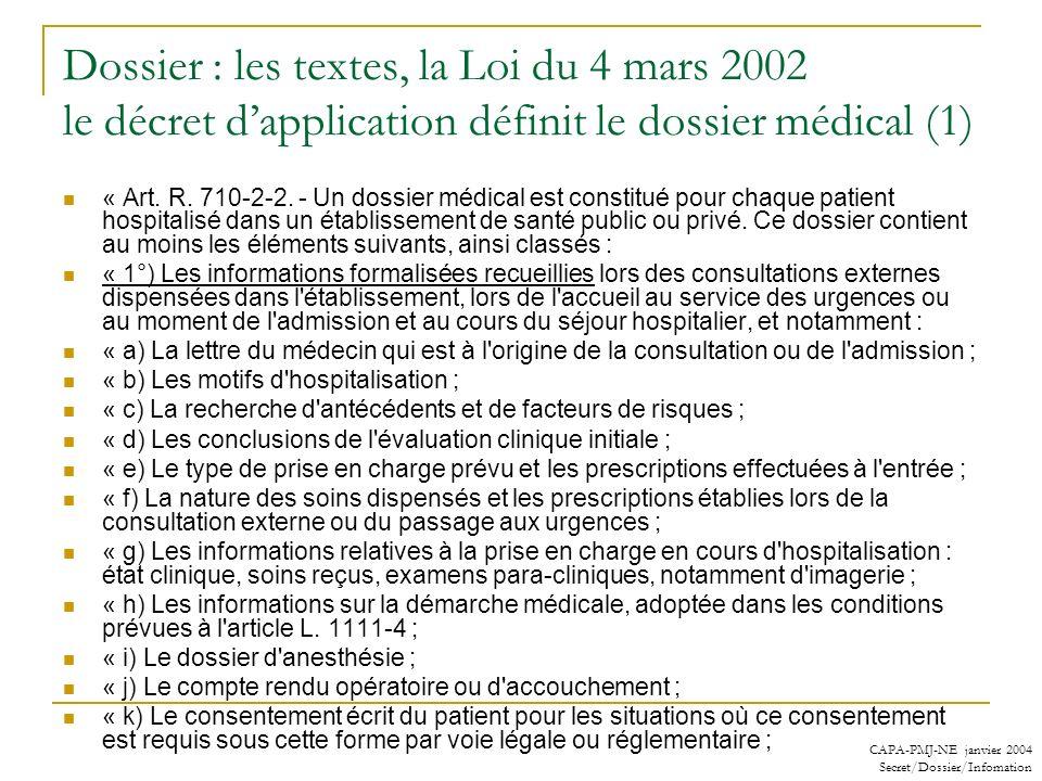 CAPA-PMJ-NE janvier 2004 Secret/Dossier/Infomation Dossier : les textes, la Loi du 4 mars 2002 le décret dapplication définit le dossier médical (1) «