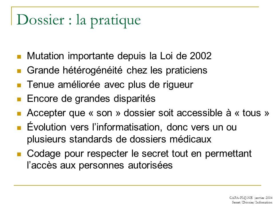 CAPA-PMJ-NE janvier 2004 Secret/Dossier/Infomation Dossier : la pratique Mutation importante depuis la Loi de 2002 Grande hétérogénéité chez les prati