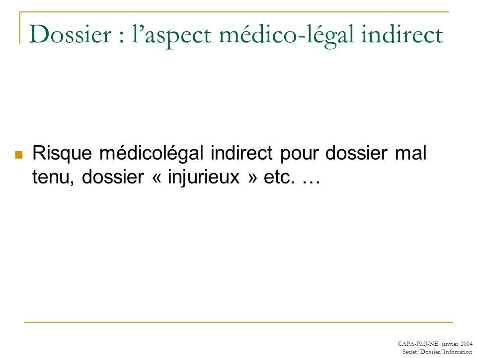 CAPA-PMJ-NE janvier 2004 Secret/Dossier/Infomation Dossier : laspect médico-légal indirect Risque médicolégal indirect pour dossier mal tenu, dossier