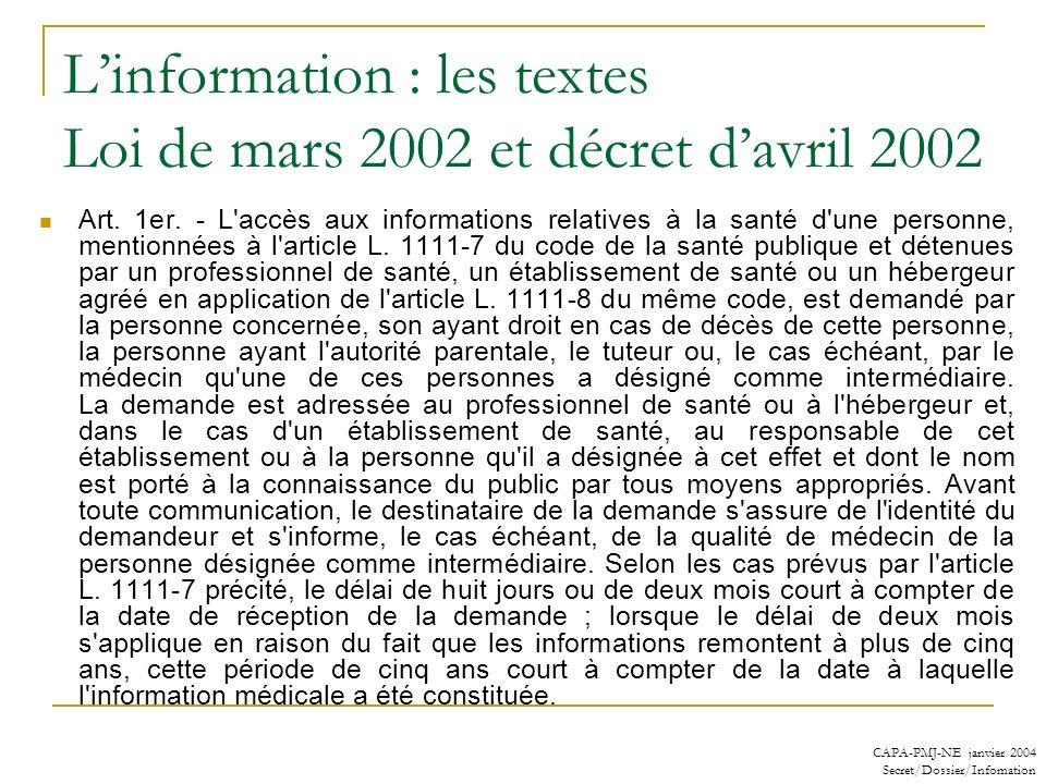 CAPA-PMJ-NE janvier 2004 Secret/Dossier/Infomation Linformation : les textes Loi de mars 2002 et décret davril 2002 Art. 1er. - L'accès aux informatio