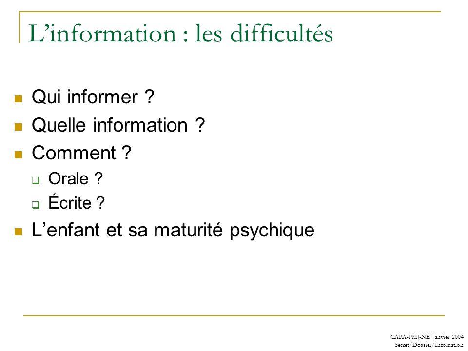 CAPA-PMJ-NE janvier 2004 Secret/Dossier/Infomation Linformation : les difficultés Qui informer ? Quelle information ? Comment ? Orale ? Écrite ? Lenfa