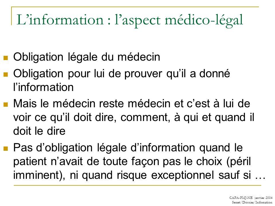 CAPA-PMJ-NE janvier 2004 Secret/Dossier/Infomation Linformation : laspect médico-légal Obligation légale du médecin Obligation pour lui de prouver qui