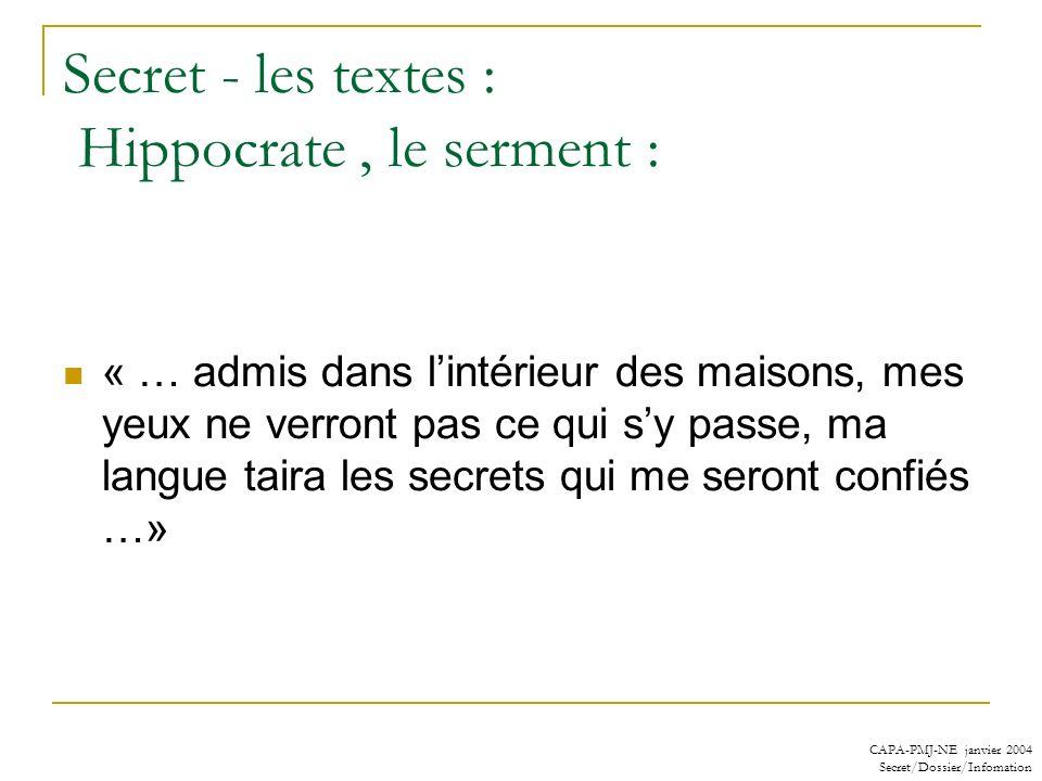 CAPA-PMJ-NE janvier 2004 Secret/Dossier/Infomation Secret - les textes : Hippocrate, le serment : « … admis dans lintérieur des maisons, mes yeux ne v